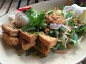 Tofu-Spieß mit Salat und Sojasauce